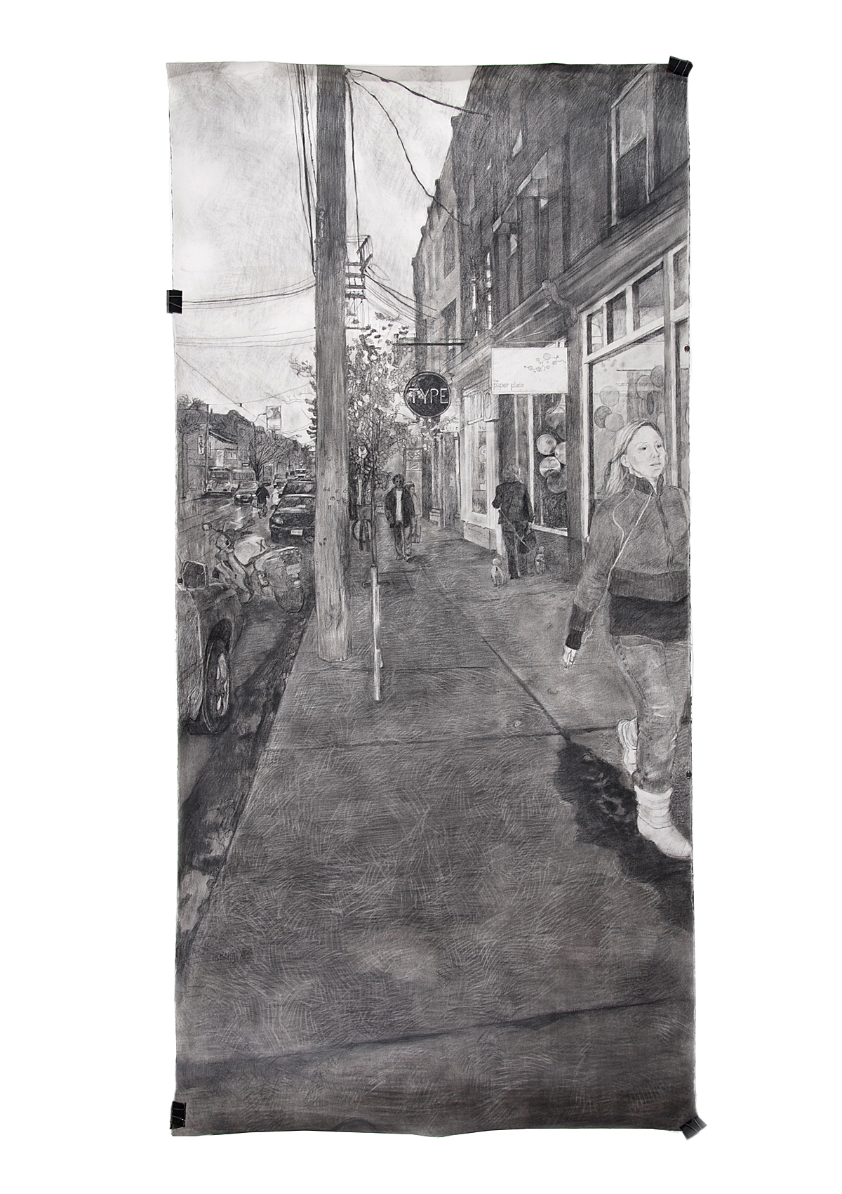 Finding Home: Drawing: Queen St. W., charcoal and acrylic varnish on paper (92 in H x 44.5 in W)