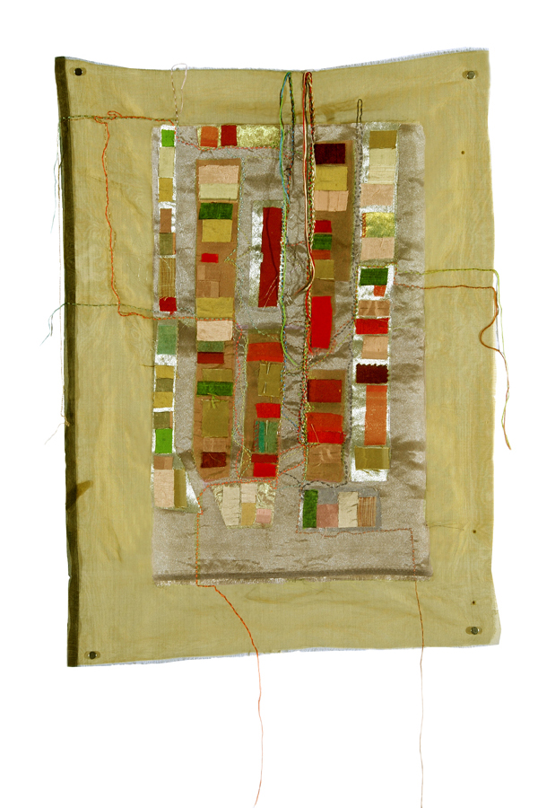 Finding Home: Map: Raglan, textile assemblage with hand stitching (28.5 in H x 21 in W)